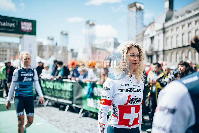 Trek-Segafredo Women at team presentation before the 2019 Liège-Bastogne-Liège Femmes,  running 138.5km from Bastogne to Liege, Belgium. 27th April 2019<br /> Picture: ASO/Thomas Maheux | Cyclefile<br /> All photos usage must carry mandatory copyright credit (© Cyclefile | ASO/Thomas Maheux)