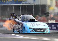 Apr 24, 2015; Baytown, TX, USA; NHRA  funny car driver Tommy Johnson Jr during qualifying for the Spring Nationals at Royal Purple Raceway. Mandatory Credit: Mark J. Rebilas-