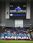 Ibrox Stadium falls silent before the match in memory of Sandy Jardine
