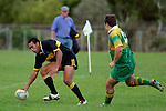 Bombay fullback Koiatu Koiatu scores 1 of his 3 tries. Counties Manukau Premier Club Rugby, Drury vs Bombay played at the Drury Domain, on the 14th of April 2006. Bombay won 34 - 13.