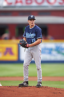 Hillsboro Hops starting pitcher Drey Jameson (15) during a Northwest League game against the Spokane Indians at Avista Stadium on August 23, 2019 in Spokane, Washington. Hillsboro defeated Spokane 8-2. (Zachary Lucy/Four Seam Images)