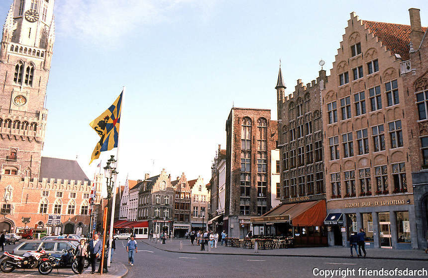 Bruges: The Markt (Market Place), Belfry to left.  Photo '87.