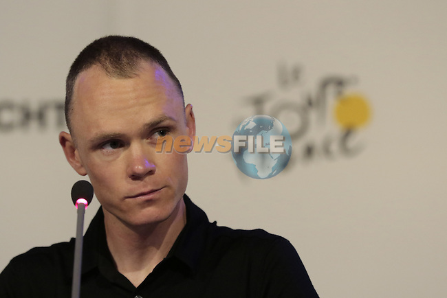 Chris Froome (GBR) Team Sky press conference before the start of the 2015 Tour de France in Utrecht, Netherlands. 3rd July 2015.<br /> Photo: Eoin Clarke www.newsfile.ie