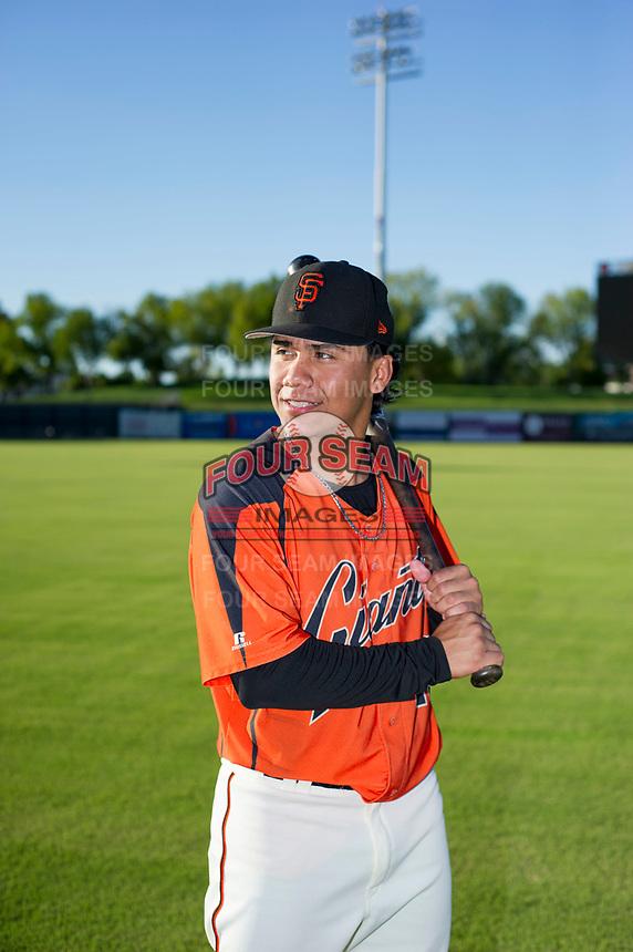 AZL Giants Ismael Munguia (29) poses for a photo prior to a game against the AZL Rangers on August 22 at Scottsdale Stadium in Scottsdale, Arizona. AZL Rangers defeated the AZL Giants 7-5. (Zachary Lucy/Four Seam Images via AP Images)