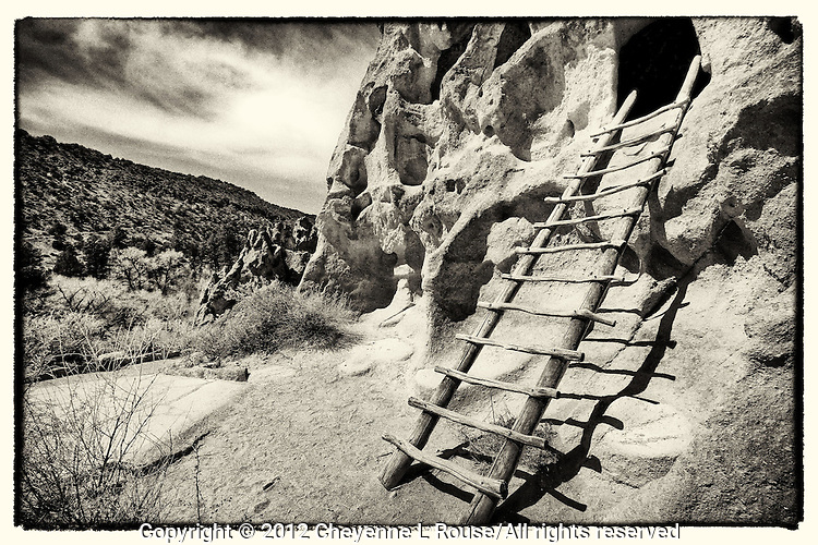 Ladder to ancient dwelling in Bandelier NM in New Mexico