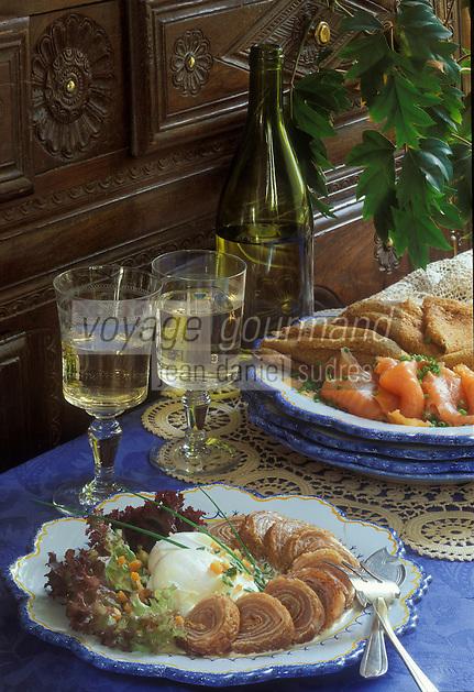 Europe/France/Bretagne/29/Finistère/Quimper: Roulade de blé noir au saumon fumé recette de Gilbert Guyon de l'Ambroisie