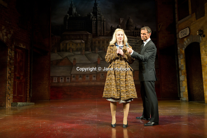 "London, UK. 31/10/2011. Ex Wet Wet Wet front man, Marti Pellow joins the cast of ""Blood Brothers"" as the Narrator. Picture shows: Vivienne Carlyle as Mrs Johnston and Marti Pellow as Narrator. Photo credit: Jane Hobson"