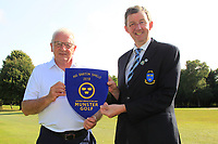 Jim Long (Chairman Munster Golf) presents the Munster Pennant to Ger Cullinane (Team Captain) after Kinsale won the AIG Barton Shield Munster Final at Thurles Golf Club, Thurles, Co. Tipperary on Sunday 19th August 2018.<br /> <br /> Picture:  Thos Caffrey / www.golffile.ie<br /> <br /> All photo usage must carry mandatory copyright credit (&copy; Golffile | Thos Caffrey)
