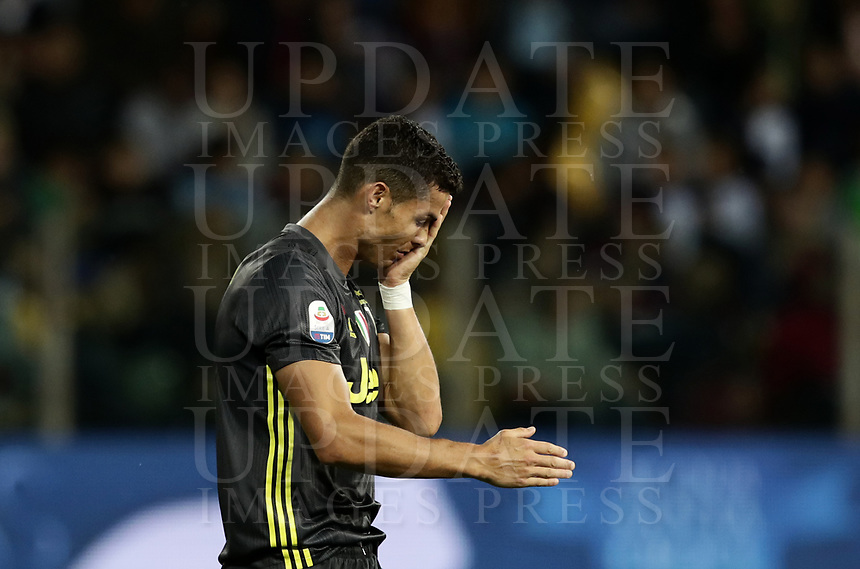 Calcio, Serie A: Parma - Juventus, Parma stadio Ennio Tardini, 1 settembre 2018.<br /> Juventus' Cristiano Ronaldo reacts after been injured during the Italian Serie A football match between Parma and Juventus at Parma's Ennio Tardini stadium, September 1, 2018. <br /> UPDATE IMAGES PRESS/Isabella Bonotto