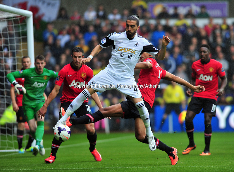 Chico Flores of Swansea.<br /> Saturday 17 August 2013<br /> Pictured: <br /> Re: Barclays Premier League Swansea City v Manchester United at the Liberty Stadium, Swansea, Wales
