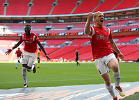 Carl Piergianni of Salford City celebrates during AFC Fylde vs Salford City, Vanarama National League Play-Off Final Football at Wembley Stadium on 11th May 2019