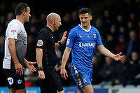 Callum Reilly of Gillingham has words with referee, Mr Andy Davies during Gillingham vs Peterborough United, Sky Bet EFL League 1 Football at the MEMS Priestfield Stadium on 10th February 2018