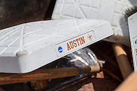 Texas logo on the base on June 7, 2014 at UFCU Disch–Falk Field in Austin, Texas. (Andrew Woolley/Four Seam Images)