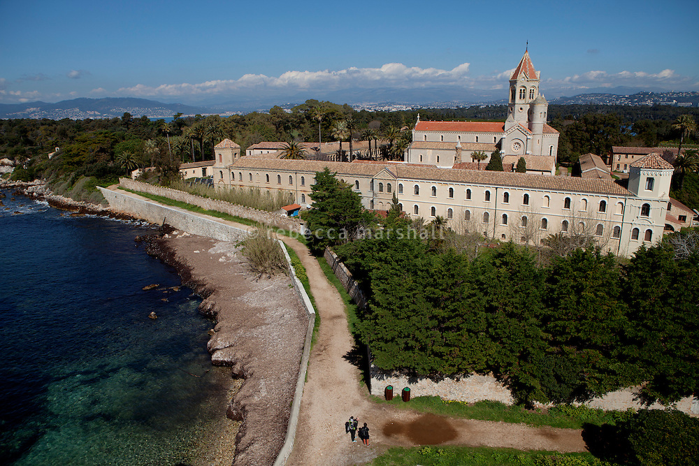Lérins Abbey, viewed from the ruins of the fortified monastery of Saint Honorat, Ile Saint Honorat, les Îles de Lérins off the coast of Cannes, France, 3 April 2013
