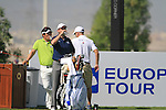 Thirsty work for Peter Lawrie and Y.E.Yang on the 9th tee during Day 1 of the Dubai World Championship, Earth Course, Jumeirah Golf Estates, Dubai, 25th November 2010..(Picture Eoin Clarke/www.golffile.ie)