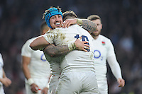 Exeter team mates Jack Nowell and Luke Cowan-Dickie of Englandcelebrate after winning the RBS 6 Nations match between England and Wales at Twickenham Stadium on Saturday 12th March 2016 (Photo: Rob Munro/Stewart Communications)