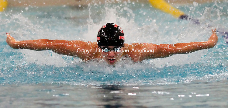 Waterbury, CT-18 January 2012-011812CM02-   Cheshire's Justin Go swims the butterfly during the 200 yard medley relay against Sacred Heart at Kennedy High School in Waterbury Tuesday night.  Sacred Heart won the meet 94-83.  Christopher Massa Republican-American