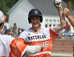 Waterloo's Sam Kreinberg is congratulated by teammates after scoring against Carbondale in the Class 3A Salem baseball sectional championship game at Salem HS in Salem, IL on Saturday June 1, 2019.<br /> Tim Vizer/Special to STLhighschoolsports.com