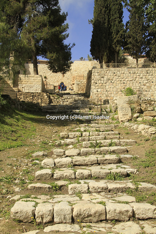 Israel, Jerusalem, ancient stairs at the Church of St. Peter in Gallicantu on the slope of Mount Zion