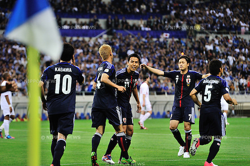 Japan team group (JPN),.JUNE 8, 2012 - Football / Soccer :.Keisuke Honda (2nd L) of Japan celebrates with his teammates after scoring their second goal during the 2014 FIFA World Cup Asian Qualifiers Final round Group B match between Japan 6-0 Jordan at Saitama Stadium 2002 in Saitama, Japan. (Photo by Jinten Sawada/AFLO)