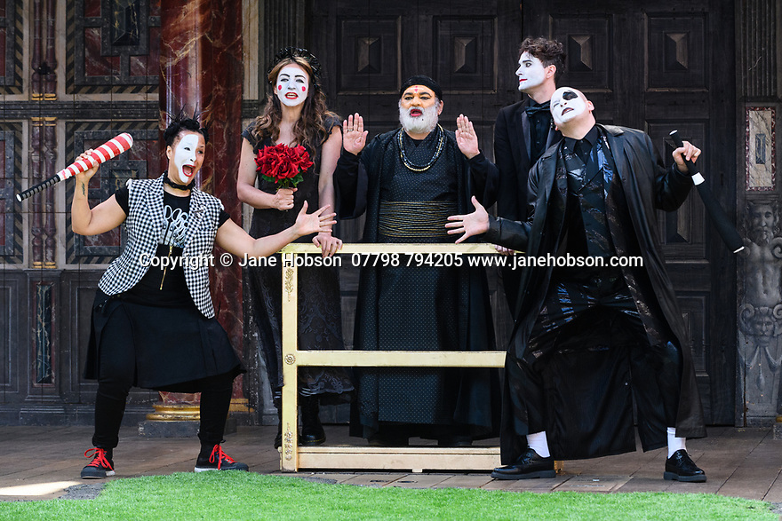 """Shakespeare's Globe presents ROMEO AND JULIET, by WIlliam Shakespeare, directed by Daniel Kramer, as part of Emma Rice's """"Summer of Love"""" season. Picture shows: Golda Rosheuvel (Mercutio), Kirsty Bushell (Juliet), Harish Patel (Friar Lawrence), Edwrd Hogg (Romeo), Ricky Champ (Tybalt)"""