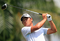 Bowen Xiao (CHN) in action on the 5th during Round 1 of the Maybank Championship at the Saujana Golf and Country Club in Kuala Lumpur on Thursday 1st February 2018.<br /> Picture:  Thos Caffrey / www.golffile.ie<br /> <br /> All photo usage must carry mandatory copyright credit (&copy; Golffile | Thos Caffrey)