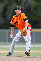 Baltimore Orioles pitcher Parker Bridwell #31 during an Instructional League game against the Boston Red Sox at Buck O'Neil Complex on October 6, 2011 in Sarasota, Florida.  (Mike Janes/Four Seam Images)