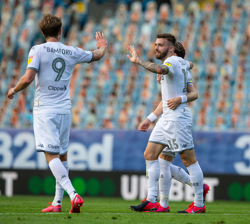 Leeds United's Stuart Dallas celebrates scoring his side's second goal <br /> <br /> Photographer Alex Dodd/CameraSport<br /> <br /> The EFL Sky Bet Championship - Leeds United v Charlton Athletic - Wednesday July 22nd 2020 - Elland Road - Leeds <br /> <br /> World Copyright © 2020 CameraSport. All rights reserved. 43 Linden Ave. Countesthorpe. Leicester. England. LE8 5PG - Tel: +44 (0) 116 277 4147 - admin@camerasport.com - www.camerasport.com