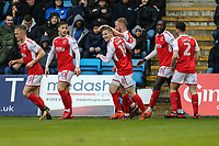 Paddy Madden of Fleetwood Town (3rd right) celebrates with team mates after he scores the opening goal of the game during the Sky Bet League 1 match between Gillingham and Fleetwood Town at the MEMS Priestfield Stadium, Gillingham, England on 27 January 2018. Photo by David Horn.