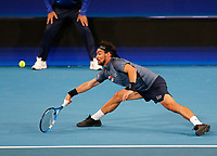 3rd January 2020; RAC Arena, Perth, Western Australia; ATP Cup Australia, Perth, Day 1, Russia versus Italy; Fabio Fognini of Italy plays a forehand shot from the baseline against Daniel Medvedev of Russia - Editorial Use