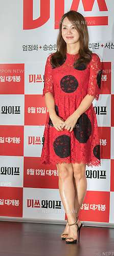 "Uhm Jung-Hwa, Jul 28, 2015 : South Korean actress and singer Uhm Jung-hwa poses during a press event promoting her new movie, ""Miss Wife"" in Seoul, South Korea. (Photo by Lee Jae-Won/AFLO) (SOUTH KOREA)"