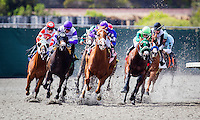 July 19, 2014: Synthetic racing action at Del Mar Race Track in Del Mar CA. Alex Evers/ESW/CSM