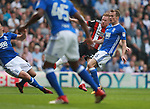 Mark Duffy of Sheffield Utd scores the first goal during the championship match at St Andrews Stadium, Birmingham. Picture date 21st April 2018. Picture credit should read: Simon Bellis/Sportimage