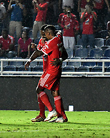 CALI - COLOMBIA, 15-09-2018: Los jugadores de América, celebran el segundo gol anotado a Deportivo Pasto, durante partido entre América de Cali y Deportivo Pasto, de la fecha 10 por la Liga Aguila II 2018 jugado en el estadio Pascual Guerrero de la ciudad de Cali. / The players of America celebrate the second scored goal to Deportivo Pasto, during a match between America de Cali and Deportivo Pasto, of the 10th date for the Liga Aguila II 2018 at the Pascual Guerrero stadium in Cali city. Photo: VizzorImage / Luis Ramirez / Staff.