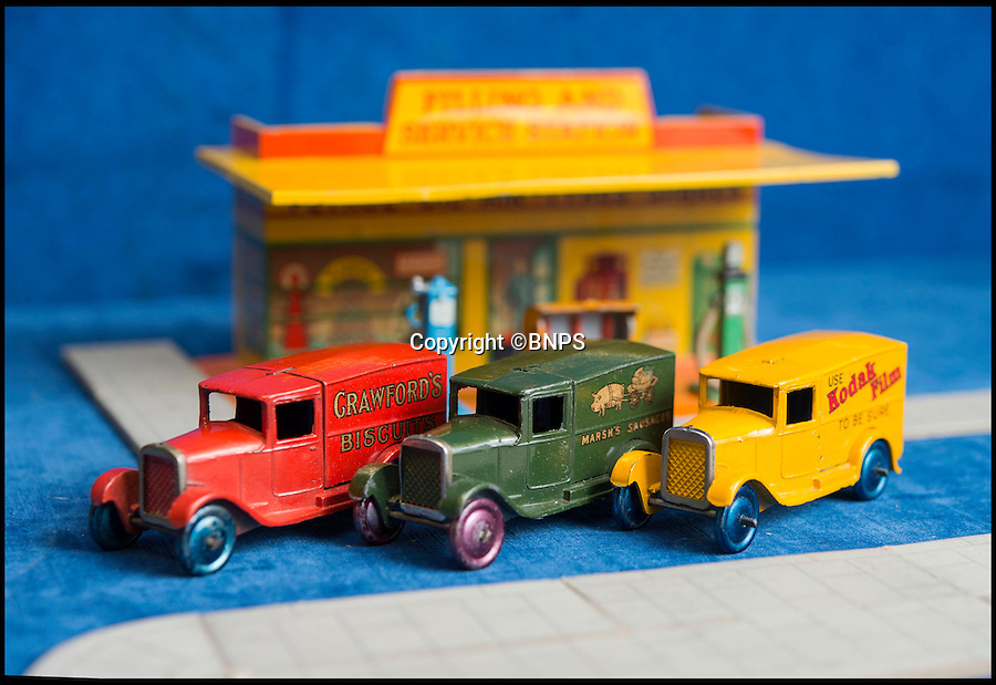 BNPS.co.uk (01202 558833)<br /> Pic: PhilYeomans/BNPS<br /> <br /> Dinky dynamite...<br /> <br /> The 'Holy grail' of Dinky car collectors are being sold  at SAS auctions in Newbury - and at &pound;15,000 a set they cost more than the real vans would have back in the day.<br /> <br /> The first two delivery van sets, made in 1933, contain six vans in each -  and amazingly most of the brands are still going strong today, over 80 years later. <br /> <br /> Second ever Dinky van set: Crawfords biscuits, Castrol, Marsh sausages, Meccano, Kodak film and Sharpes toffee.