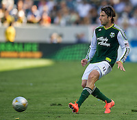 CARSON, CA - June 17, 2012: Portland Timbers defender Mike Chabala (4) during the LA Galaxy vs Portland Timbers match at the Home Depot Center in Carson, California. Final score LA Galaxy 1, Portland Timbers 0.