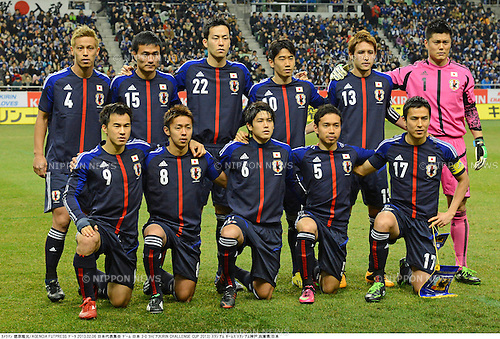 Japan team group line-up (JPN),.FEBRUARY 6, 2013 - Football / Soccer :.Japan team group shot (Top row - L to R) Keisuke Honda, Yasuyuki Konno, Maya Yoshida, Shinji Kagawa, Hajime Hosogai, Eiji Kawashima, (Bottom row - L to R) Shinji Okazaki, Hiroshi Kiyotake, Atsuto Uchida, Yuto Nagatomo and Makoto Hasebe before the Kirin Challenge Cup 2013 match between Japan 3-0 Latvia at Home's Stadium Kobe in Hyogo, Japan. (Photo by Takamoto Tokuhara/AFLO)