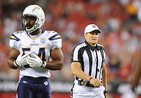 Aug. 22, 2009; Glendale, AZ, USA; NFL referee (85) Ed Hochuli during the game between the San Diego Chargers against the Arizona Cardinals during a preseason game at University of Phoenix Stadium. Mandatory Credit: Mark J. Rebilas-