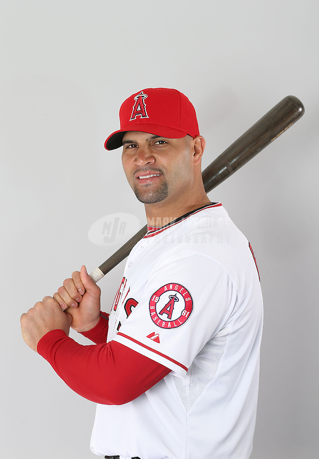 Feb. 21, 2113; Tempe, AZ, USA: Los Angeles Angels first baseman Albert Pujols poses for a portrait during photo day at Tempe Diablo Stadium. Mandatory Credit: Mark J. Rebilas-
