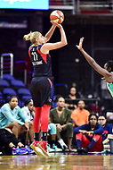 Washington, DC - June 15, 2018: Washington Mystics guard Elena Delle Donne (11) shoots a shot over New York Liberty defender during game between the Washington Mystics and New York Liberty at the Capital One Arena in Washington, DC. (Photo by Phil Peters/Media Images International)