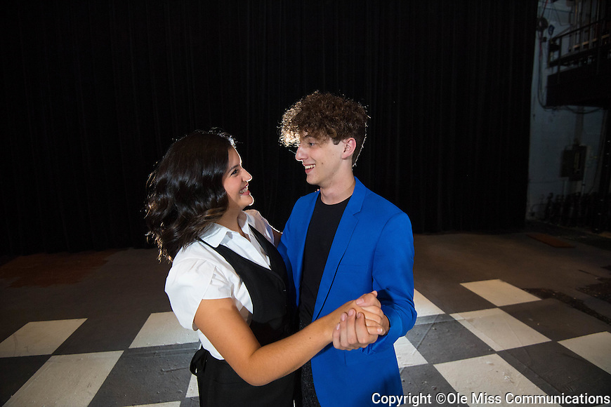 "Theatre majors Cory Clark and Katie Gonzalezn pose for publicity photos of their upcoming play ""The Wedding Singer"" running Nov 11-13.   Photo by Kevin Bain/Ole Miss Communications"