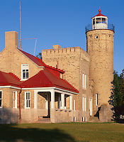 Cheboygan County, MI <br /> Old Mackinac Point Light (1898) on the Straits of Mackinac, between lakes Michigan and Huron