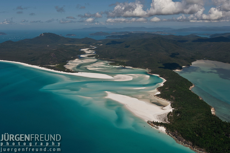 Aerial view of Whitehaven Beach - a seven kilometre stretch of untouched pure silica white sand