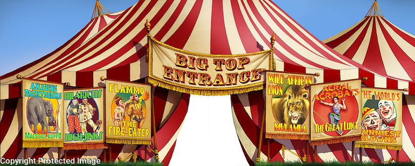 A generic circus tent with center opening. For Kenmark Scenic Backdrops, Inc.