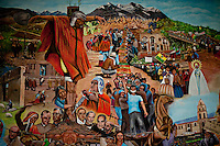 Wall painting inside a Catholic Church with Aymara man on the cross.Just 25 years ago it was a small group of houses around La Paz  airport, at an altitude of 12,000 feet. Now El Alto city  has  nearly one million people, surpassing even the capital of Bolivia, and it is the city of Latin America that grew faster ...It is also a paradigmatic city of the troubles  and traumas of the country. There got refugee thousands of miners that lost  their jobs in 90 ¥s after the privatization and closure of many mines. The peasants expelled by the lack of land or low prices for their production. Also many who did not want to live in regions where coca  growers and the Army  faced with violence...In short, anyone who did not have anything at all and was looking for a place to survive ended up in El Alto...Today is an amazing city. Not only for its size. Also by showing how its inhabitants,the poorest of the poor in one of the poorest countries in Latin America, managed to get into society, to get some economic development, to replace their firs  cardboard houses with  new ones made with bricks ,  to trace its streets,  to raise their clubs, churches and schools for their children...Better or worse, some have managed to become a sort of middle class, a section of the society that sociologists call  emerging sectors. Many, maybe  most of them, remain for statistics as  poor. But clearly  all of them have the feeling they got  for their children a better life than the one they had to face themselves .