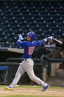 Alberto Mineo #56 of the AZL Cubs bats against the AZL Rangers at Surprise Stadium on July 6, 2014 in Surprise, Arizona. AZL Rangers defeated the AZL Cubs, 7-5. (Larry Goren/Four Seam Images)
