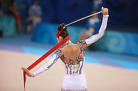 August 22, 2008; Beijing, China; Rhythmic gymnast Anna Bessonova of Ukraine prepares to begin her routine with ribbon on way to winning bronze in the All-Around final at 2008 Beijing Olympics..(©) Copyright 2008 Tom Theobald