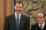 King Felipe VI of Spain and Moral and Politic Sciences Academy director JUAN VELARDE FUERTES during Royal Audiences at Zarzuela Palace in Madrid, Spain. January 27, 2015. (ALTERPHOTOS/Victor Blanco)