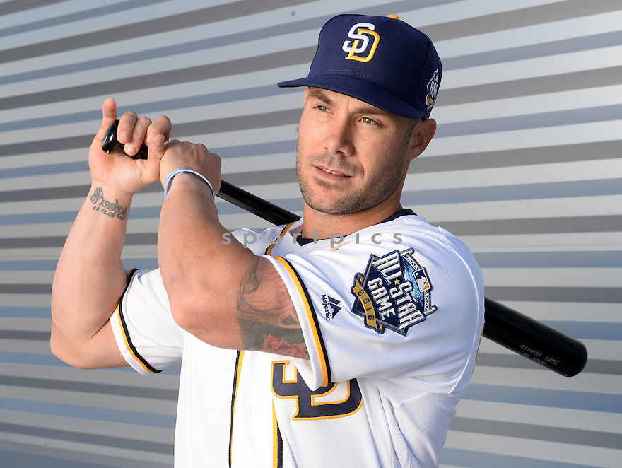 San Diego Padres Skip Schumaker (55) during photo day on February 26, 2016 in Peoria, AZ.