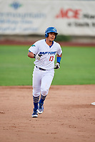 Luis Paz (13) of the Ogden Raptors circles the bases after knocking a home run during the game against the Great Falls Voyagers at Lindquist Field on September 14, 2017 in Ogden, Utah. The Raptors defeated the Voyagers 7-4 in Game One of the Pioneer League Championship. (Stephen Smith/Four Seam Images)